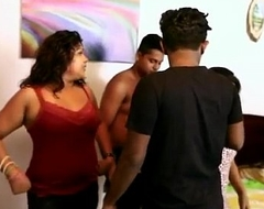 Hot desi bgrade foursome - tit squeeze and dry humping